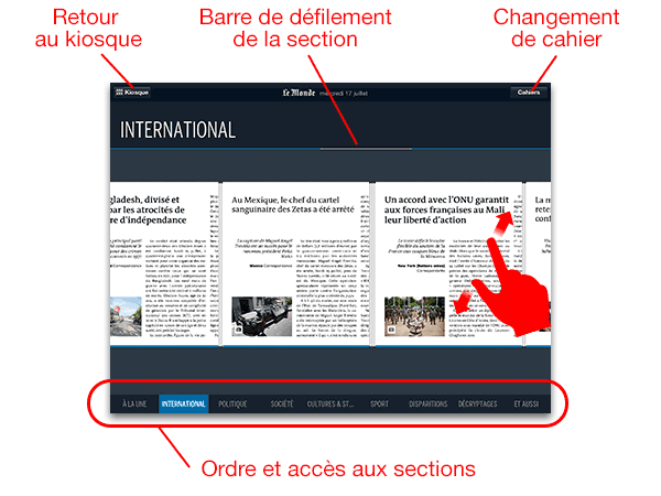 le Journal tactile du quotidien Le Monde - navigation