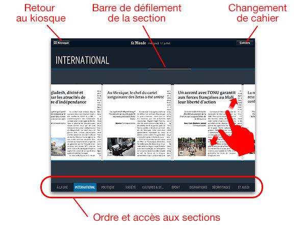 le Journal tactile du quotidien Le Monde - navigation