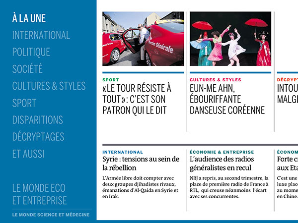 le Journal tactile du quotidien Le Monde - section
